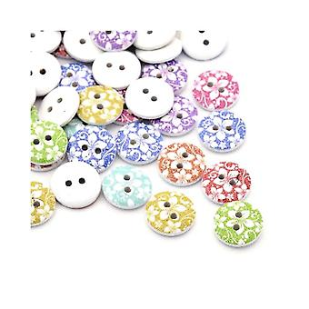 Packet 30 x Mixed/White Wood 15mm Round 2-Holed Patterned Sew On Buttons Y00330