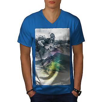 Guitar Musician Art Men Royal BlueV-Neck T-shirt   Wellcoda