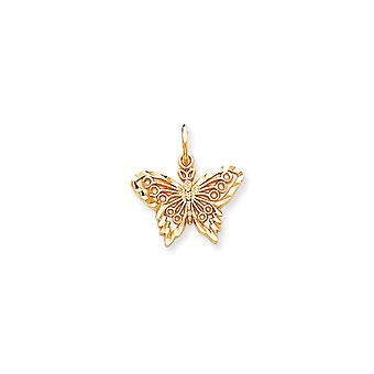 10 k gul guld Solid Sparkle-Cut fjäril Charm -.9 gram