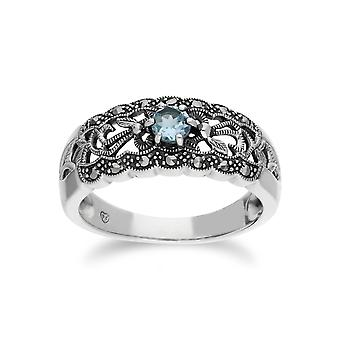Gemondo Sterling Silver Blue Topaz & Marcasite Art Nouveau Ring