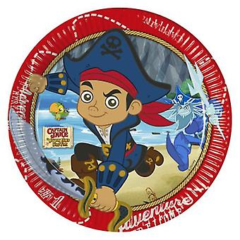 Captain Jake Nimmerland Piraten Party Teller Ø 23 cm 8 Stück Kindergeburtstag Mottoparty