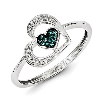 Sterling Silver Open back Gift Boxed Rhodium-plated Blue and White Diamond Heart Ring - Ring Size: 7 to 8