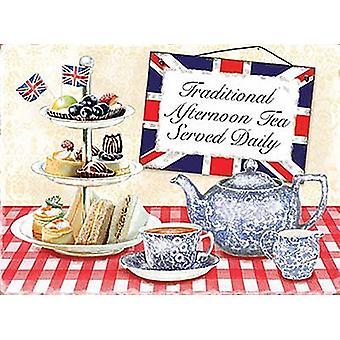 Traditionel eftermiddags te serveres daglige små Metal underskrive 200 Mm X 150 Mm