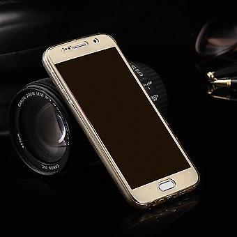 Crystal Case Hülle für Samsung Galaxy S6 Edge Gold Rahmen Full Body