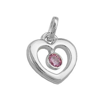 Heart with pink cubic zirconia 925 Silver heart pendant sterling silver