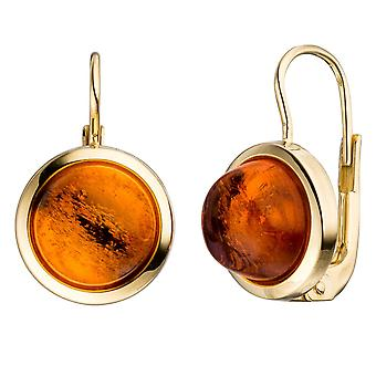 Amber round boutons 333 Gold Yellow Gold 2 amber orange earrings