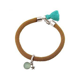 Damen - Armband - 925 Silber - Edelstein - Aqua Chalcedon - STAR - Stern - Grün - Braun