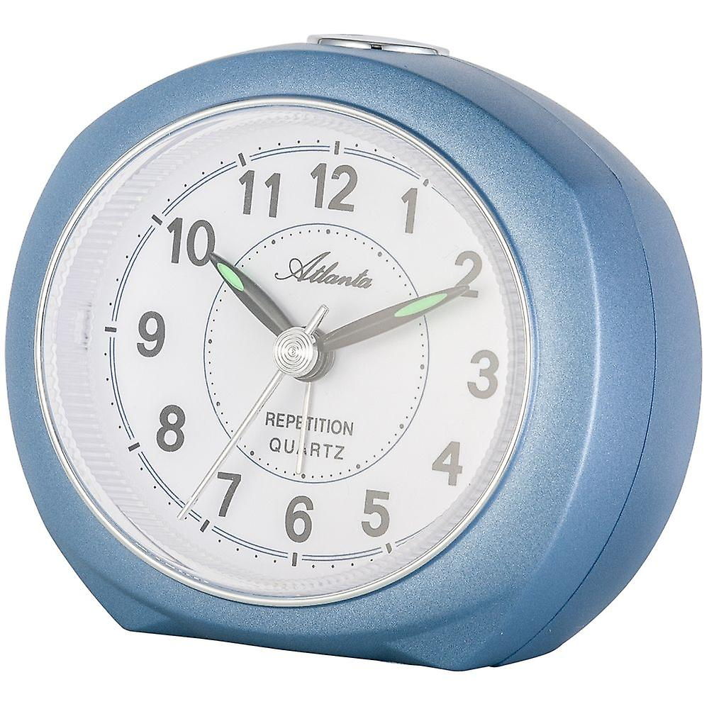 1593 Wecker Blau Ohne Ticken Mit Snooze Atlanta Leise Licht 5 Quarz Analog XnP80wOk