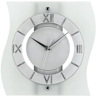 Radio controlled wall clock wall clock frosted mineral glass 32 x 30 cm