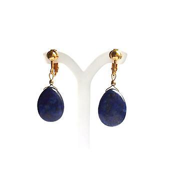 Lapislazuli Ohrclips Ohrringe Lapis Lazuli Ohrclips Edelsteine vergoldet