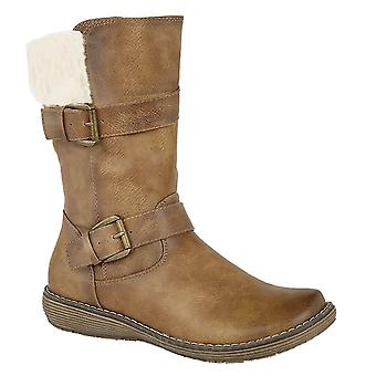 Ladies Womens Faux Fur Collar Twin Buckle Inside Zip Mid Calf Boots Shoes