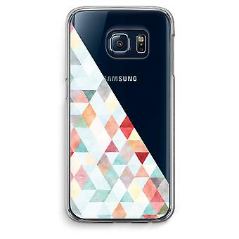 سامسونج غالاكسي S6 الحافة شفافة القضية (الناعمة)-باستيل مثلثات ملونة