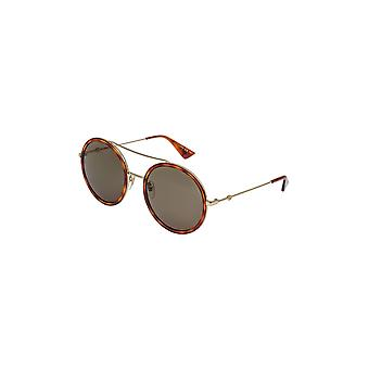 Gucci Women's Urban Web Block Round Sunglasses, Gold/Havana With Green Lens, One Size