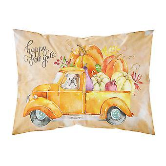 Fall Harvest English Bulldog Fabric Standard Pillowcase