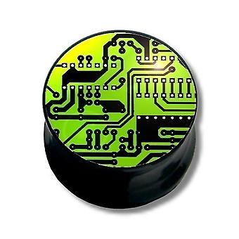 Ohr-Plug Piercing, Körperschmuck, Daten-Chip grün   6 - 16 mm