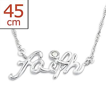 Faith Inline - 925 Sterling Silver Jewelled Necklaces - W20757X