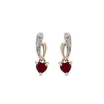 9 kt gult gull 0.52ct naturlig Ruby & Diamond Heart Drop øredobber