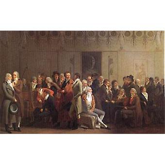 Groupe d'artistes dans le 40x60cm Studio d'Isabey, Louis Léopold Boilly, avec plateau