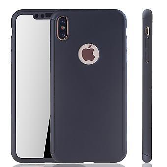 Apple iPhone XS Max Handy-Hülle Schutz-Case Full-Cover Panzer Schutz Glas Schwarz