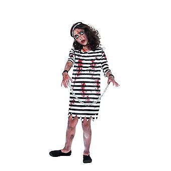 Zombie Convict Girl, Halloween Child Fancy Dress, Medium Age 7-9