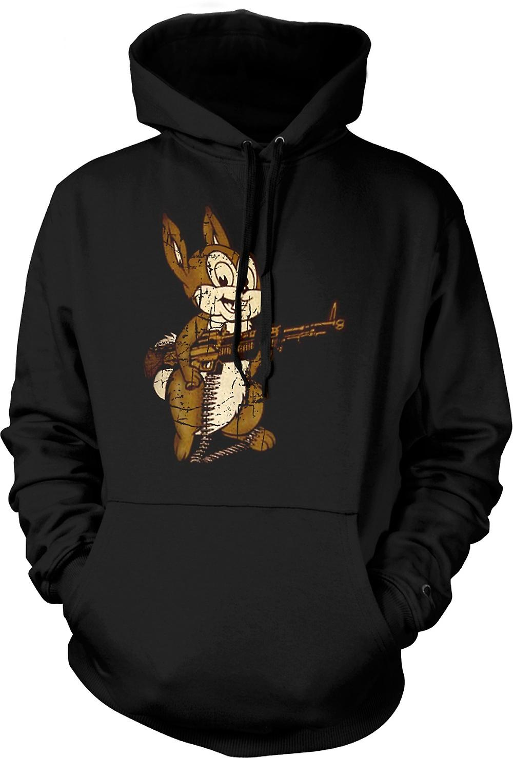 Mens Hoodie - Rabbit With M60 Machine Gun - Cool Design