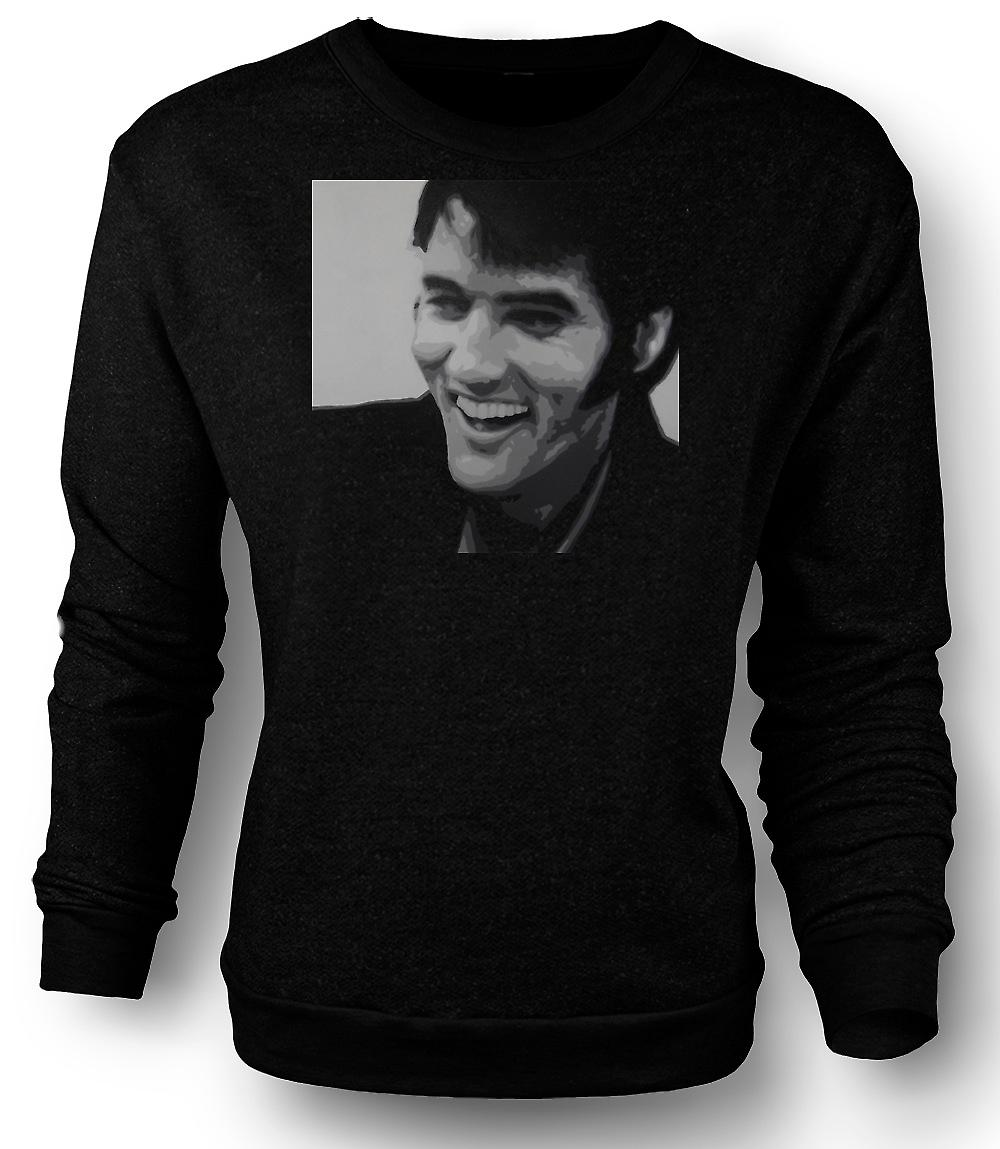 Mens Sweatshirt Elvis Presley leende - BW - Pop Art