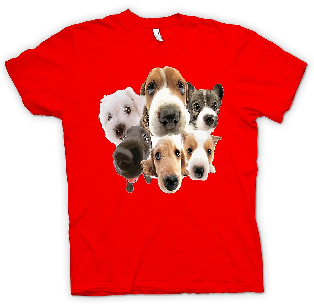 Mens T-shirt - Pet Dog Faces Collage - Cute