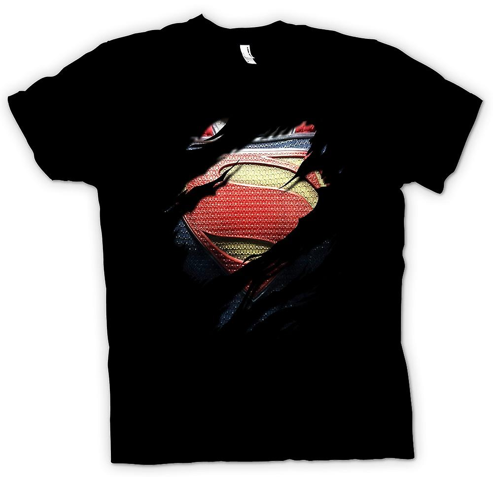 Womens T-shirt - nieuwe Super Man kostuum - superheld geript Design