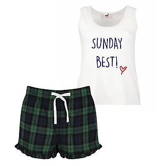 Sunday Best Pyjamas Ladies Tartan Frill Short Pyjama Set Red Blue or Green Blue