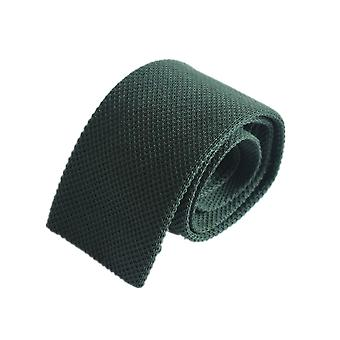 Diagonal weave plain knitted tie – olive green