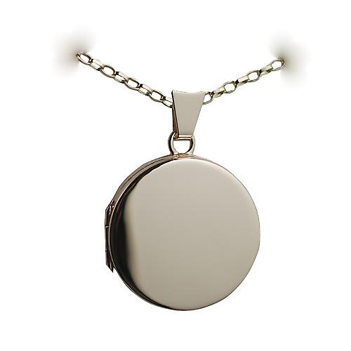 9ct Gold 20mm plain flat round Locket with a belcher chain
