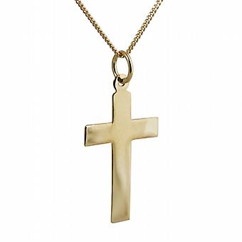 18ct Gold 24x14mm plain flat latin Cross with a curb Chain 20 inches