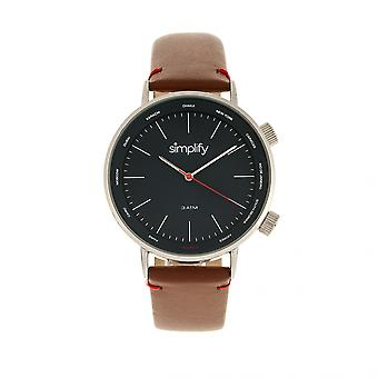Simplify The 3300 Leather-Band Watch - Brown/Navy