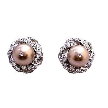 Pearls Cubic Zircon Post Stud Earrings Swarovski Bronze Pearls Earring