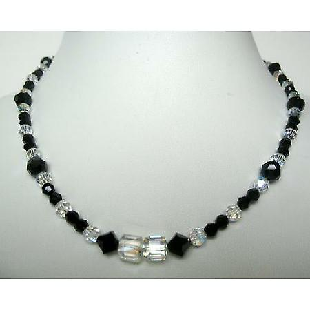 Fashion Jewelry AB Crystals & Jet Formal Party Wear Jewelry Necklace