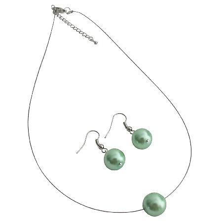 Elegance Style Green Single Pearl Necklace Earrings Set
