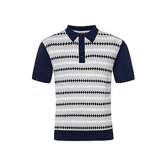 Merc FARLEY, diamond jacquard knit polo