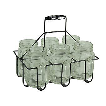 6 部分透明なガラス瓶マグカップ黒で金属ホルダー セット