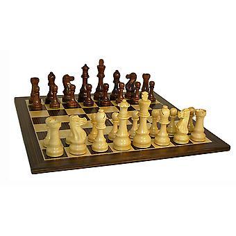 Jumbo Staunton Chess sett med ibenholt finer bord