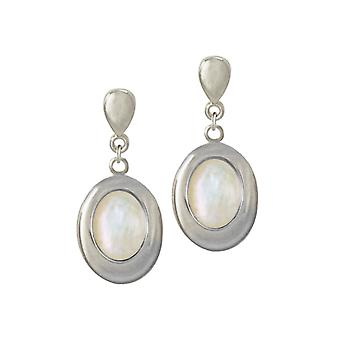 832a32cac Eternal Collection Idaho Mother Of Pearl Silver Tone Drop Clip On Earrings