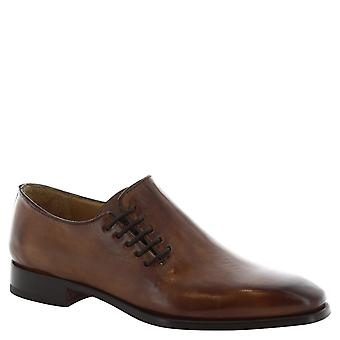 Leonardo Shoes Man's handmade lace ups shoes in delave brandy leather