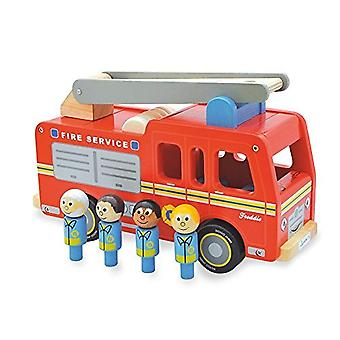 Indigo Jamm Freddie Fire Engine, Classic Wooden Toy Emergency Services Vehicle with Removable Roof and Firefighters