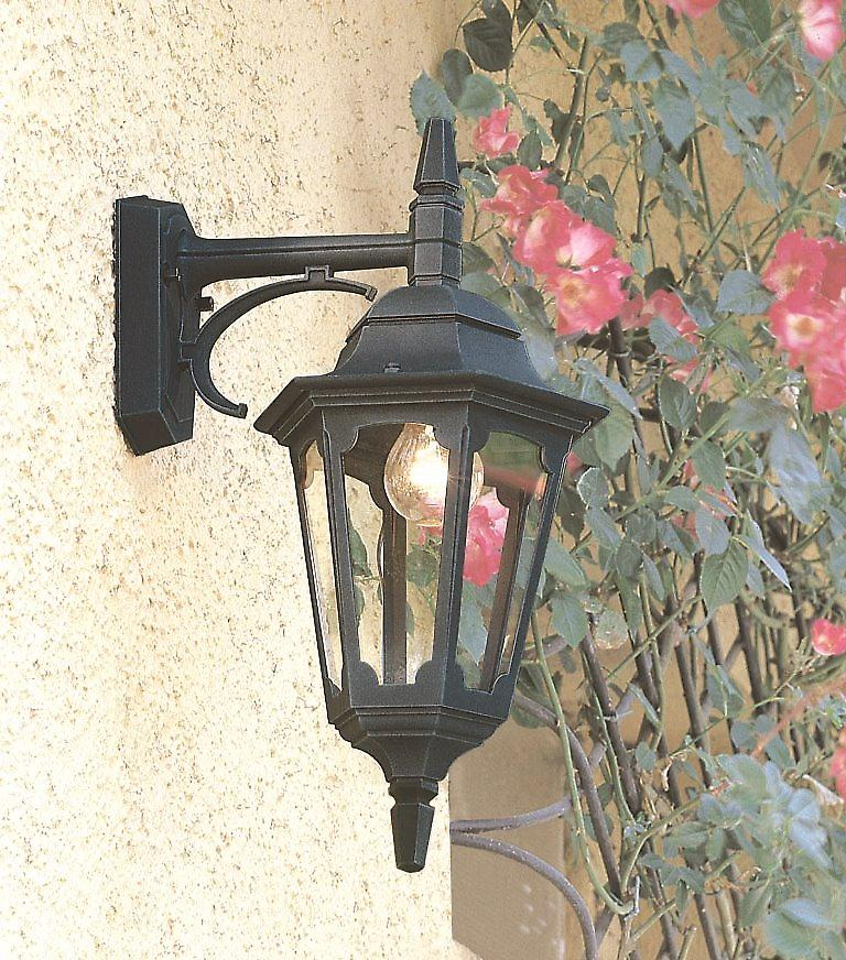Elstead PR2 BLACK Parish Traditional Outdoor Wall Light with Clear Glass Panel