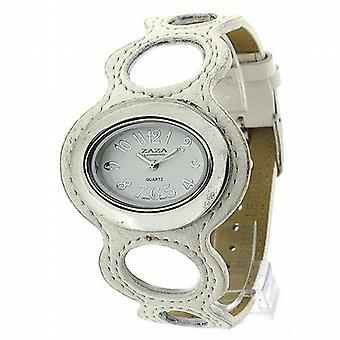 Zaza Londra signore anello Design quadrante bianco & similpelle Strap Watch LLB864