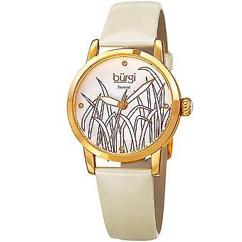 Burgi Women's Diamond Reed Design Dial Gold-Tone/White Leather Strap Watch BUR173WT