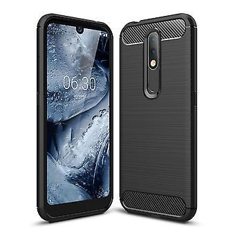 Nokia 4.2 TPU Case Carbon Fiber Optics Brushed Protection Case Black