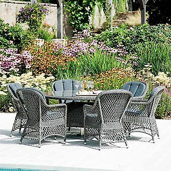 Alexander Rose Monte Carlo 6 Seat Dining Set - Open Weave Chair