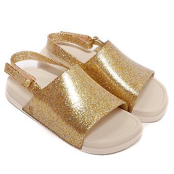 梅丽莎鞋迷你海滩幻灯片凉鞋, 金光闪闪