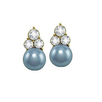 Eternal Collection Signature Powder Blue Glass Pearl And Crystal Gold Tone Stud Pierced Earrings