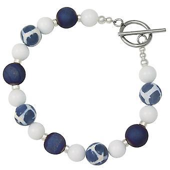 Eternal Collection Portamento Blue Druzy White Jade Beaded Bracelet